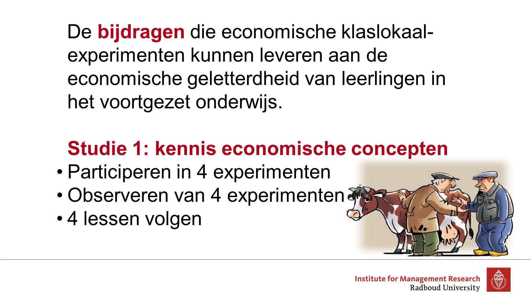 De bijdragen die economische klaslokaal-experimenten kunnen leveren aan de economische geletterdheid van leerlingen in het voortgezet onderwijs.