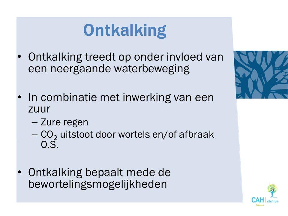Ontkalking Ontkalking treedt op onder invloed van een neergaande waterbeweging. In combinatie met inwerking van een zuur.