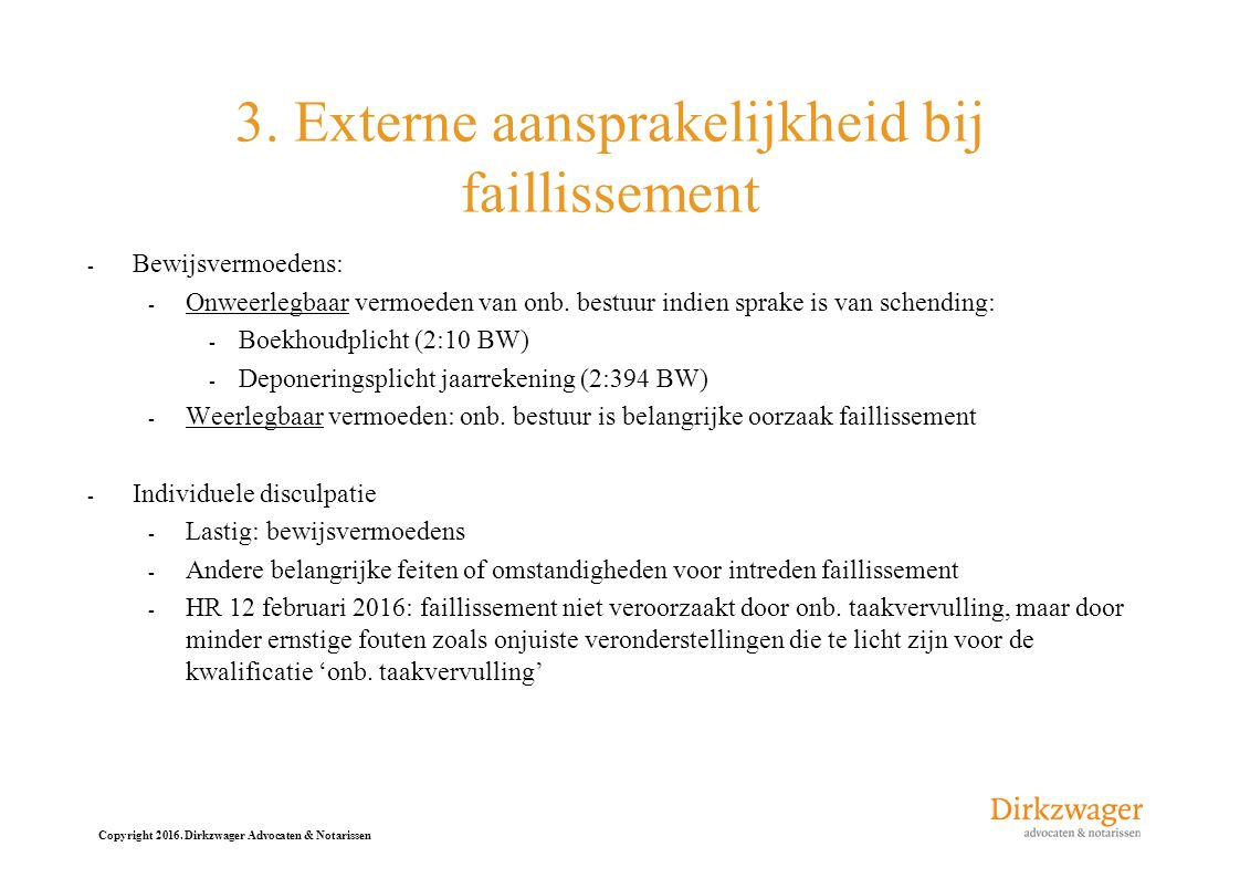 3. Externe aansprakelijkheid bij faillissement