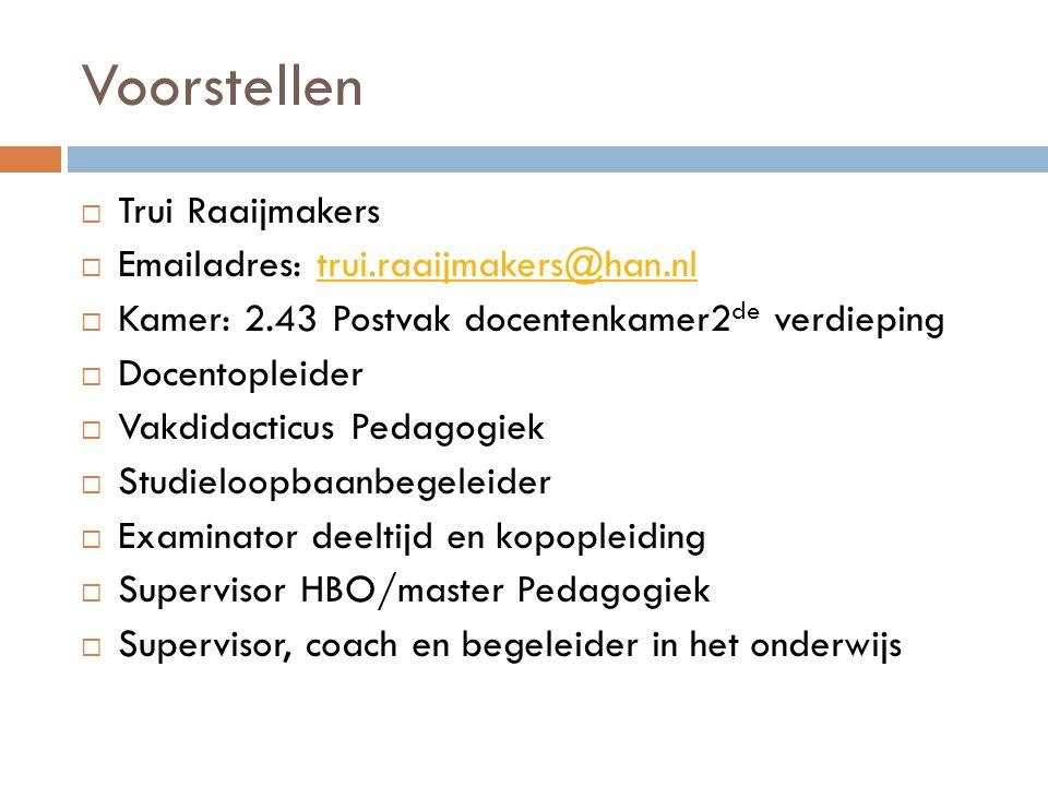 Voorstellen Trui Raaijmakers Emailadres: trui.raaijmakers@han.nl