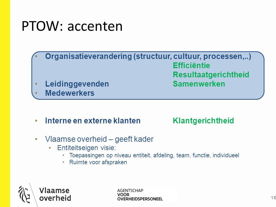 PTOW: accenten Organisatieverandering (structuur, cultuur, processen,..) Efficiëntie. Resultaatgerichtheid.