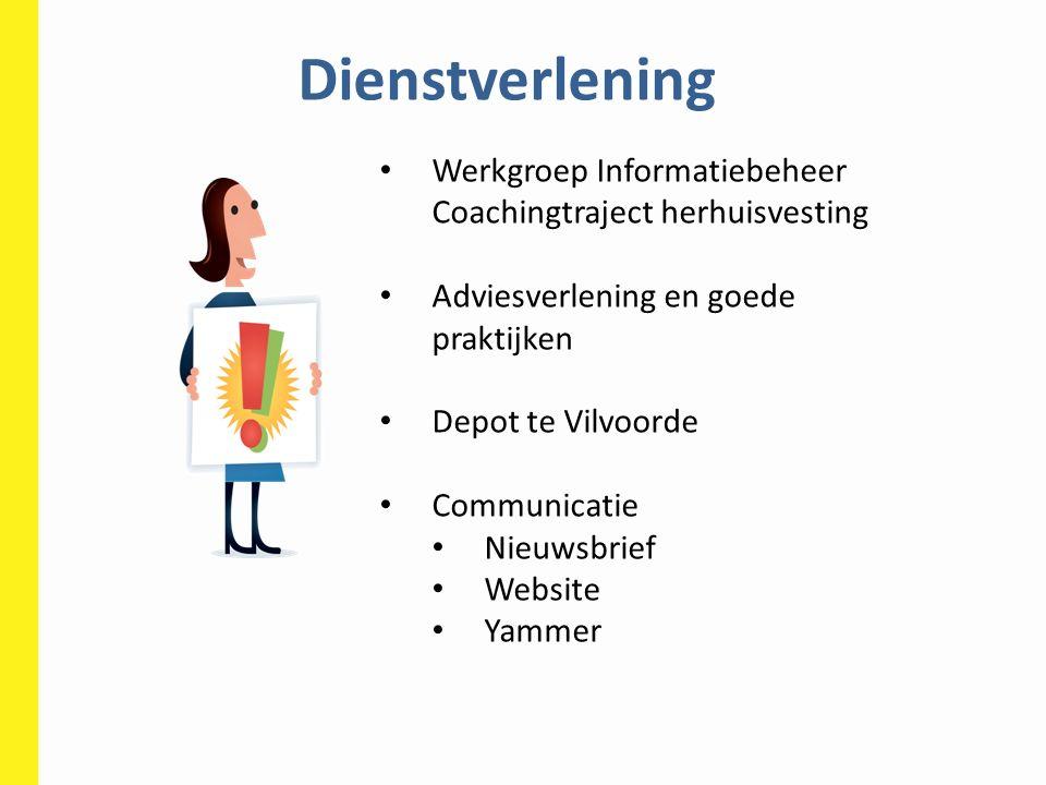 Dienstverlening Werkgroep Informatiebeheer Coachingtraject herhuisvesting. Adviesverlening en goede praktijken.