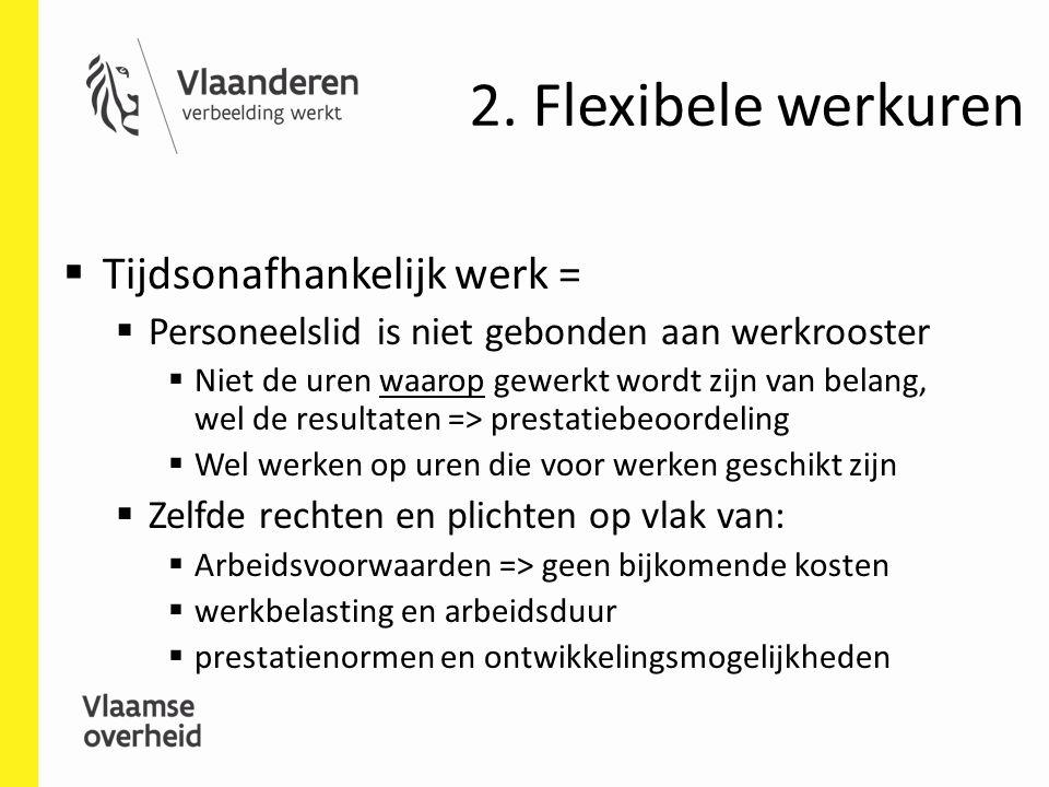 2. Flexibele werkuren Tijdsonafhankelijk werk =