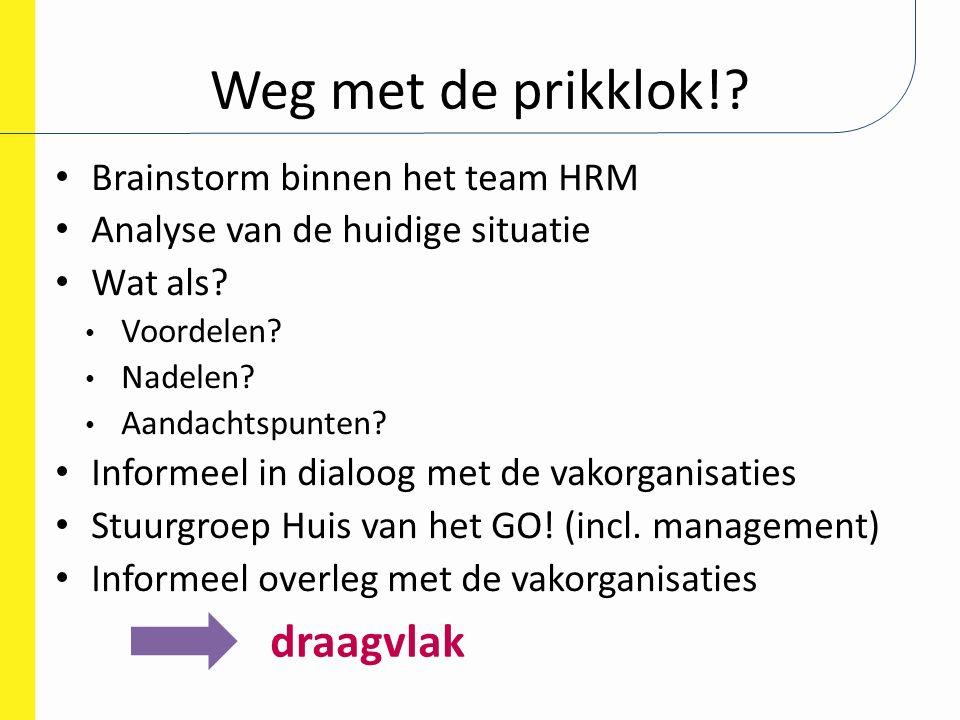 Weg met de prikklok! draagvlak Brainstorm binnen het team HRM