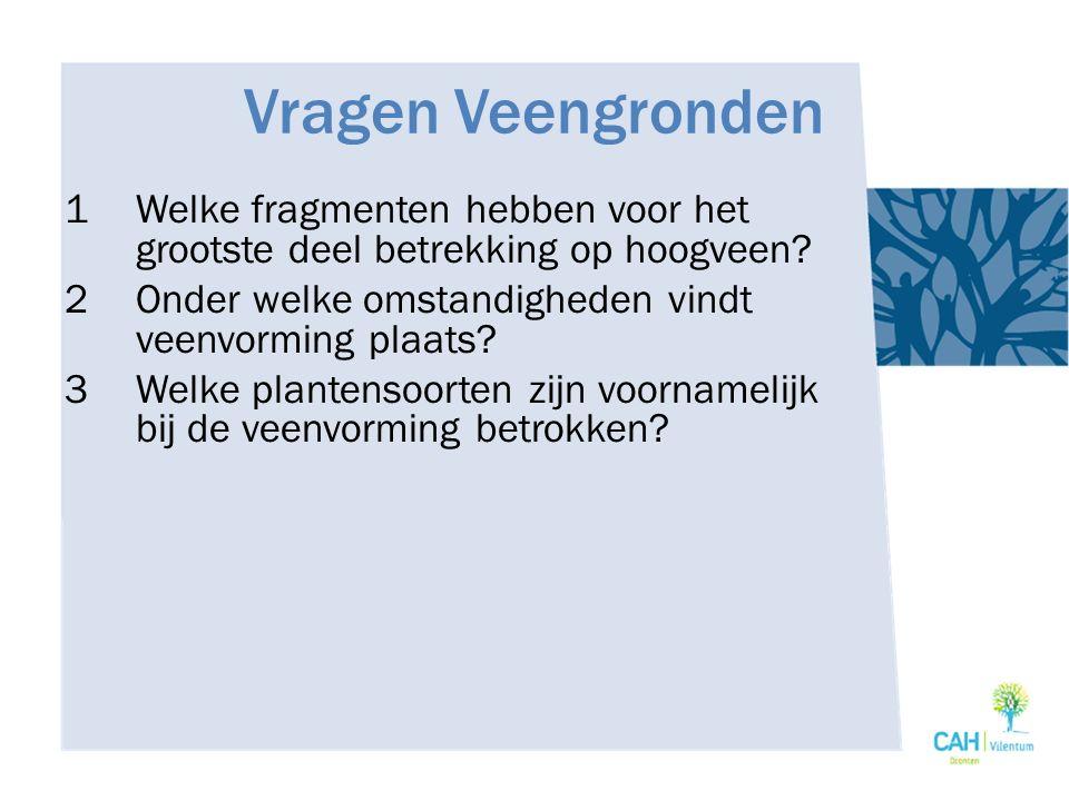27/04/2017 Vragen Veengronden. Welke fragmenten hebben voor het grootste deel betrekking op hoogveen