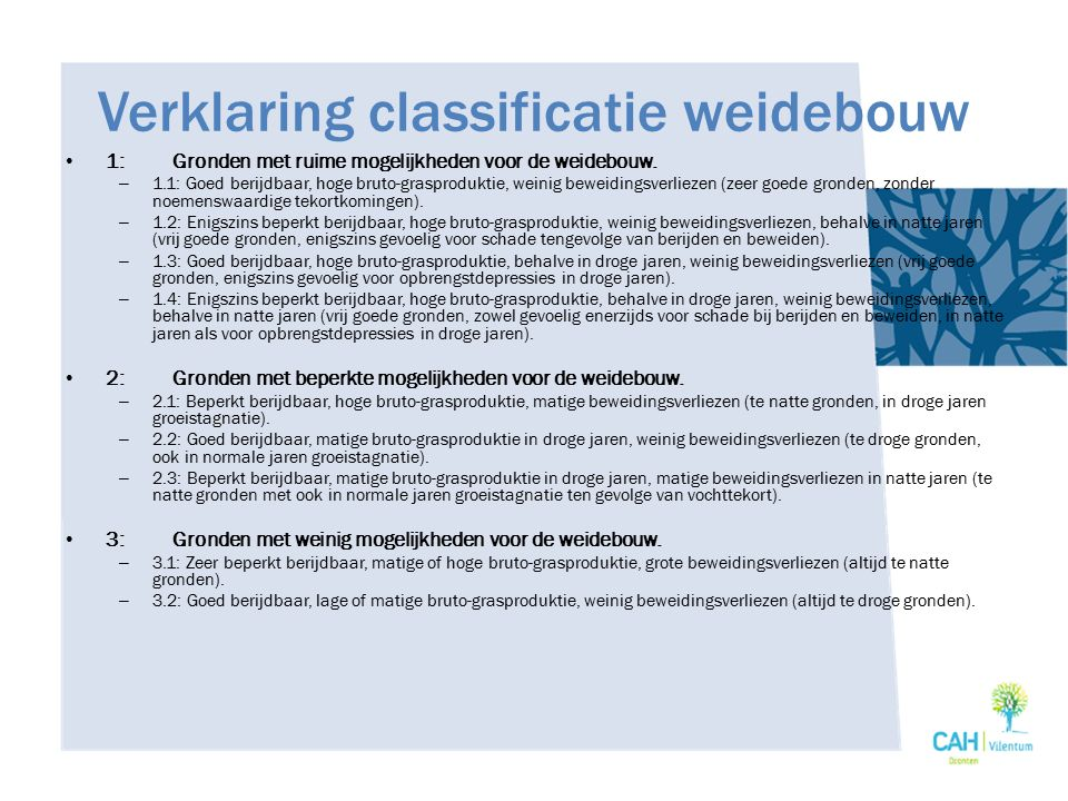Verklaring classificatie weidebouw