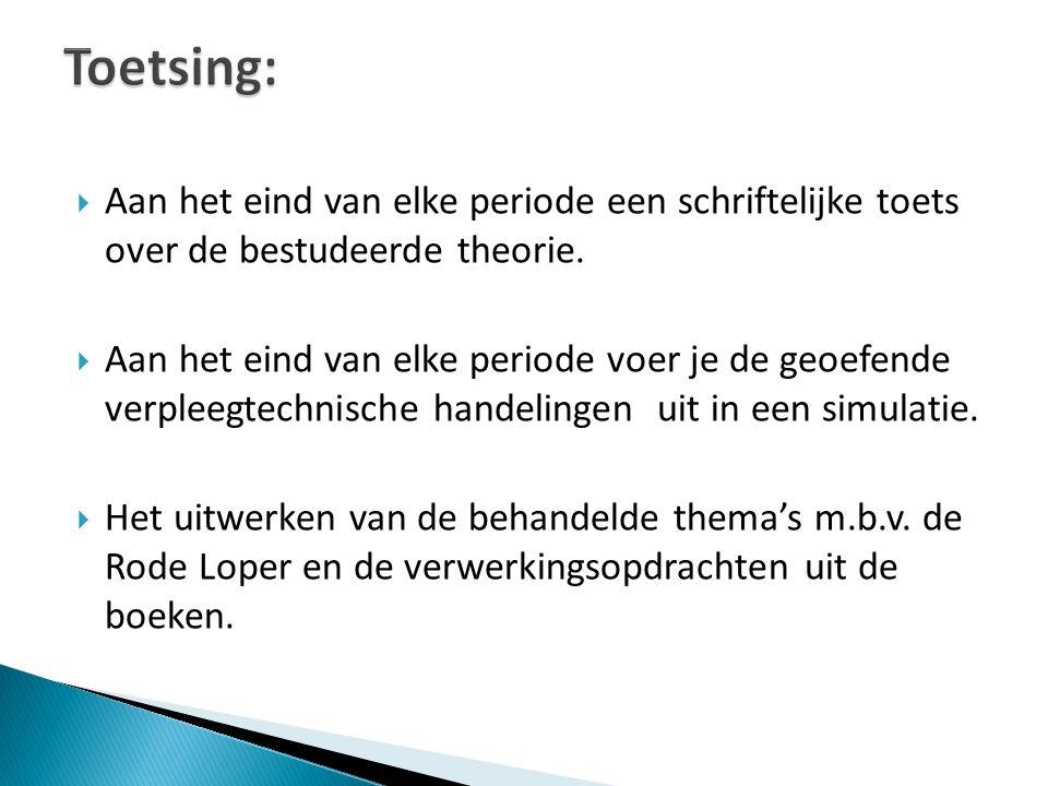 Toetsing: Aan het eind van elke periode een schriftelijke toets over de bestudeerde theorie.