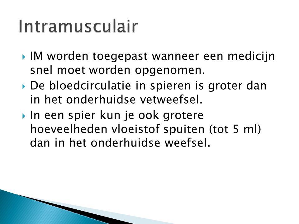 Intramusculair IM worden toegepast wanneer een medicijn snel moet worden opgenomen.