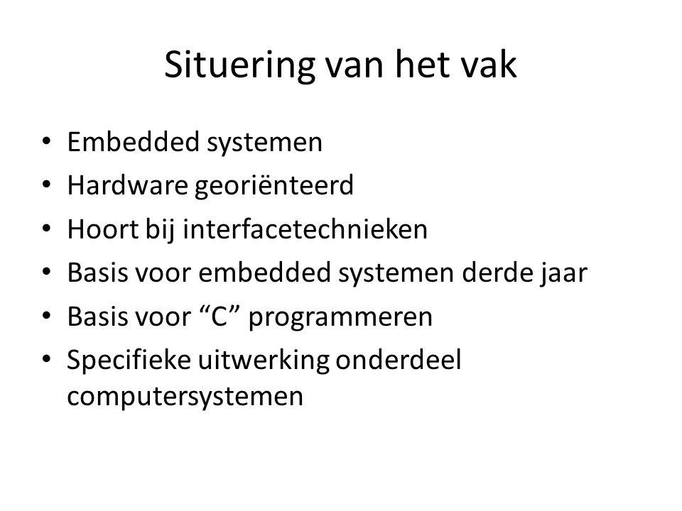 Situering van het vak Embedded systemen Hardware georiënteerd