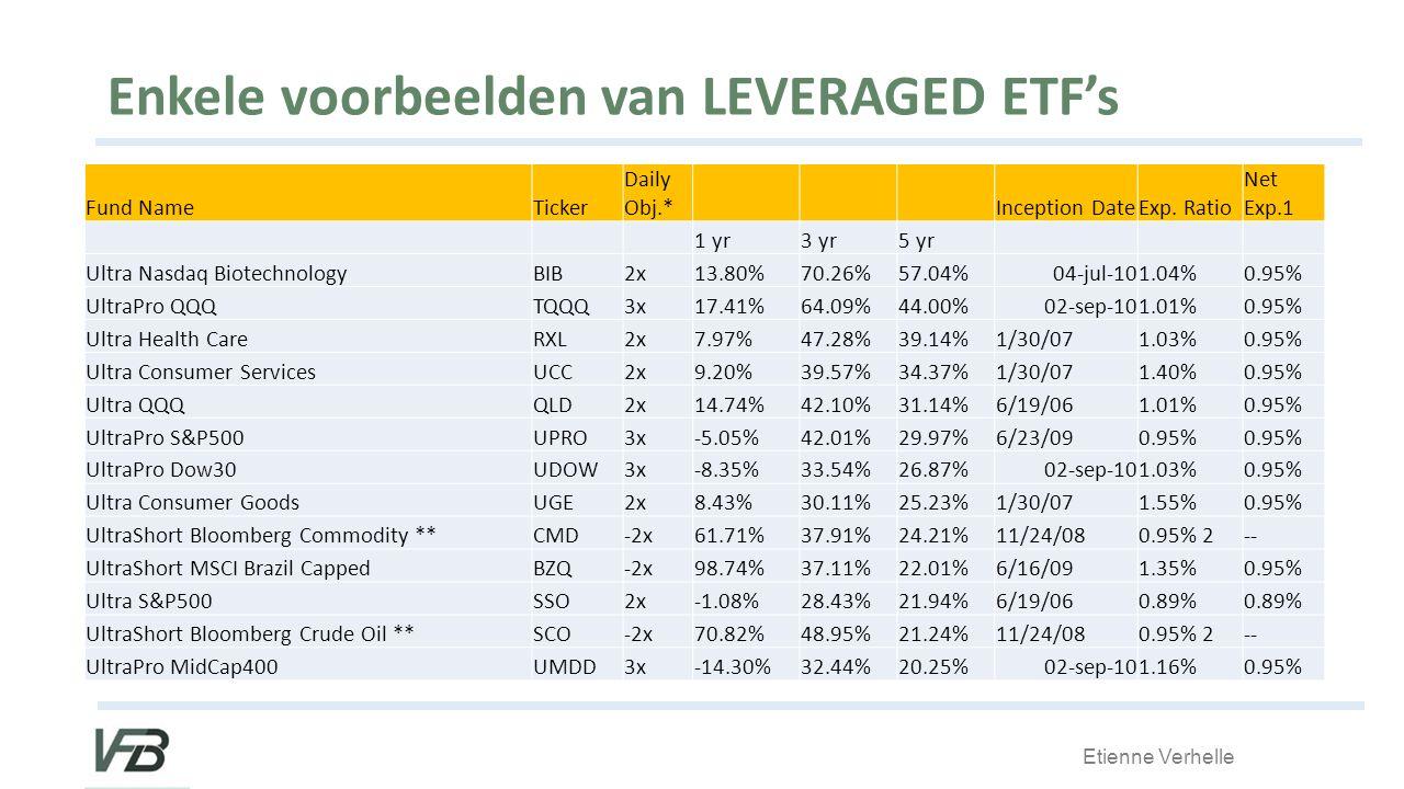 Enkele voorbeelden van LEVERAGED ETF's