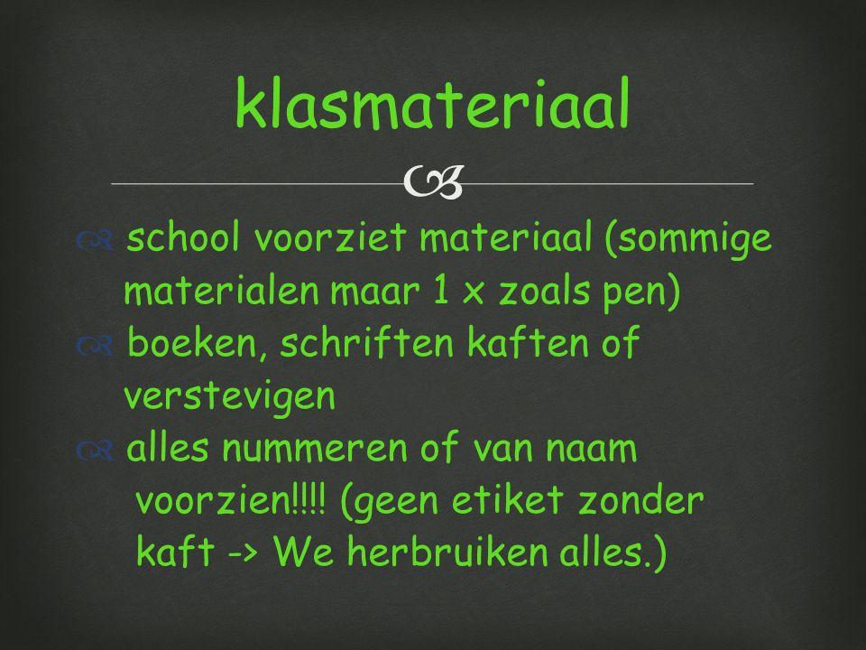 klasmateriaal school voorziet materiaal (sommige