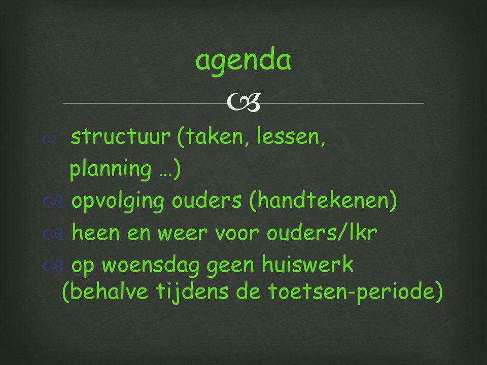 agenda planning …) opvolging ouders (handtekenen)