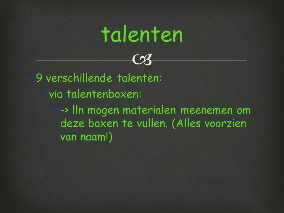 talenten 9 verschillende talenten: via talentenboxen: