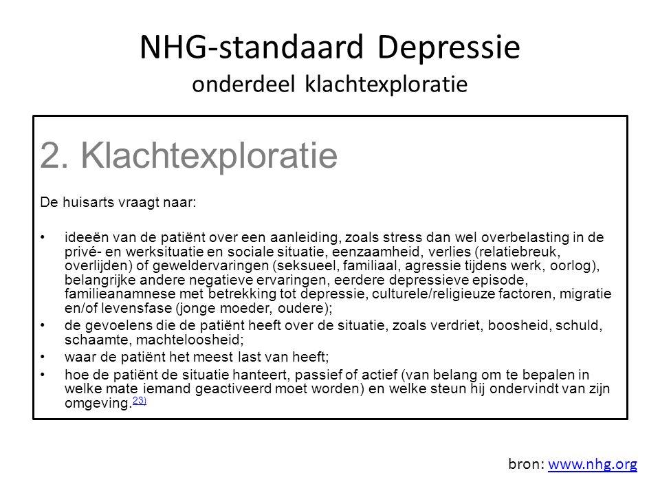 NHG-standaard Depressie onderdeel klachtexploratie