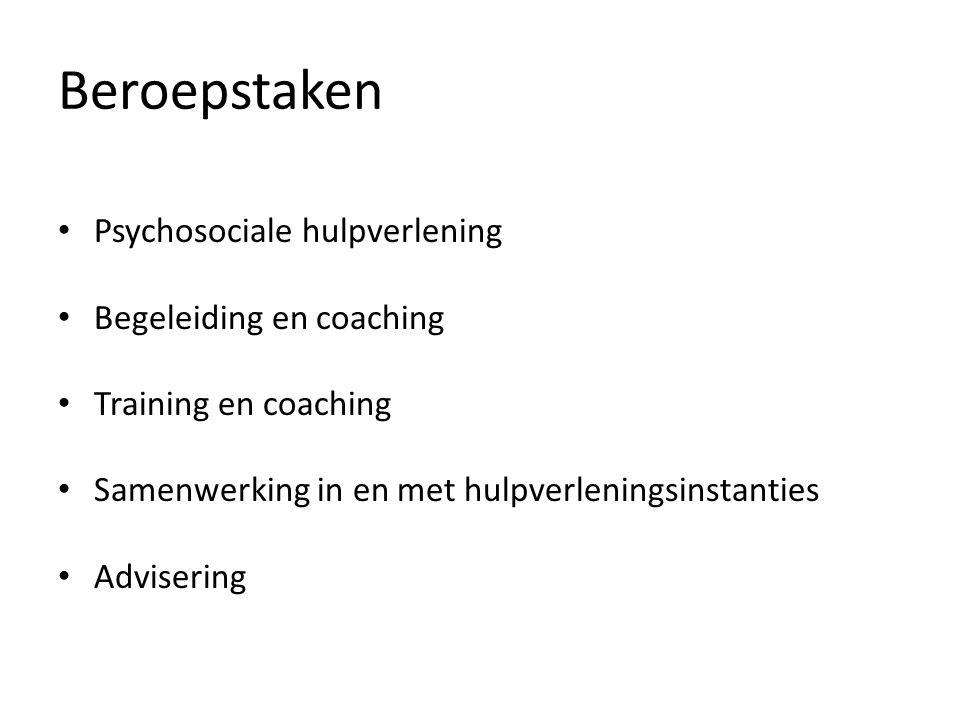 Beroepstaken Psychosociale hulpverlening Begeleiding en coaching