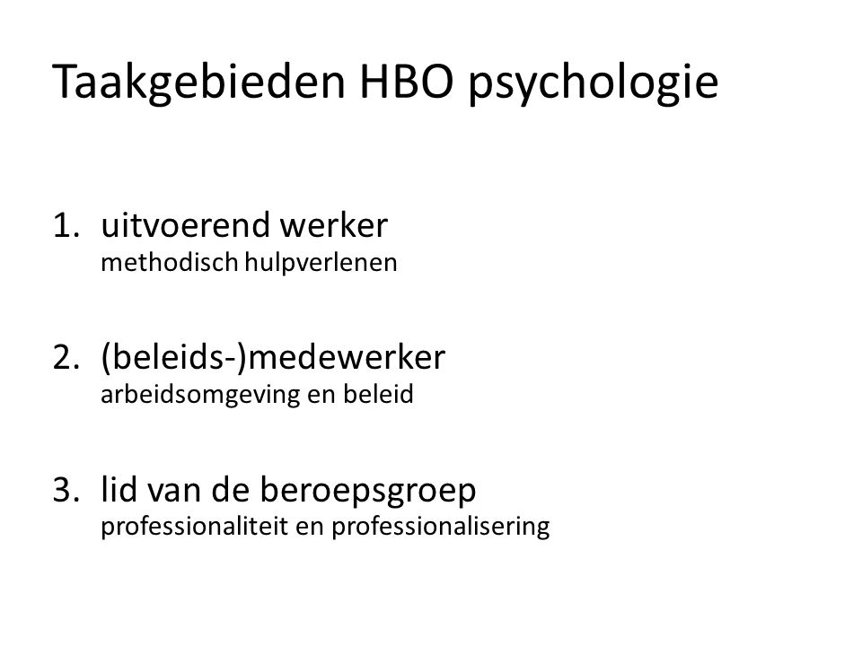 Taakgebieden HBO psychologie