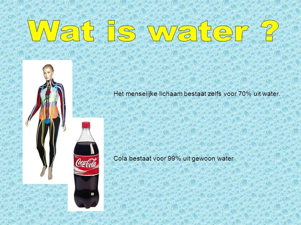Wat is water . Het menselijke lichaam bestaat zelfs voor 70% uit water.