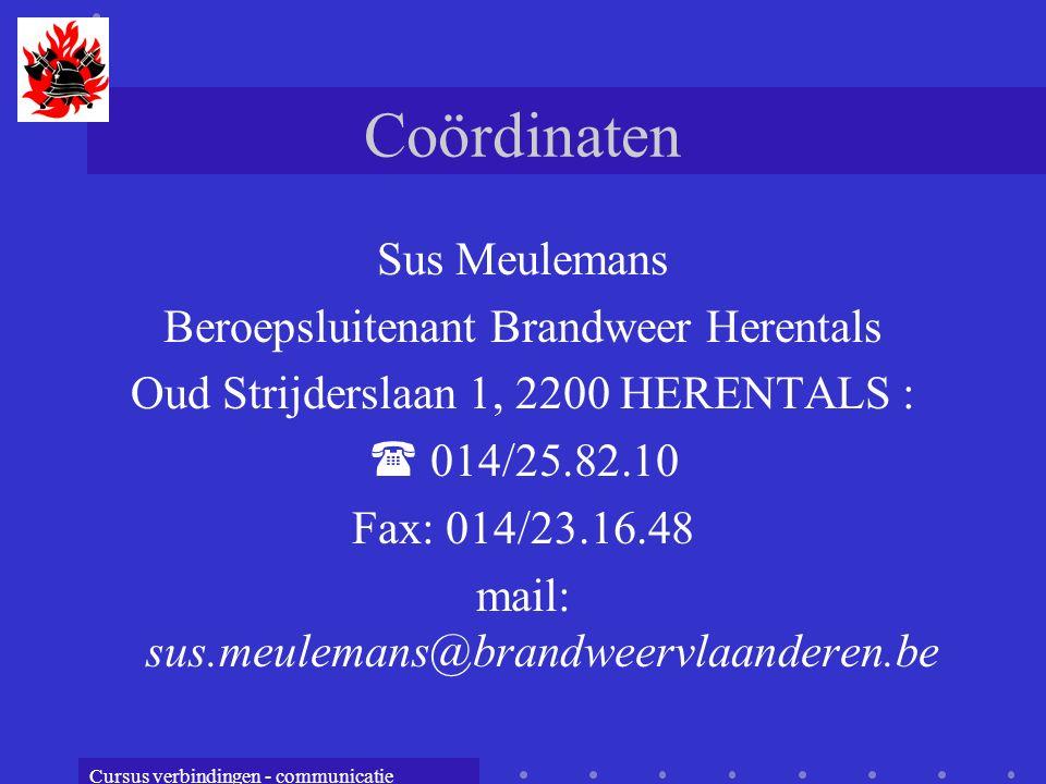 Coördinaten Sus Meulemans Beroepsluitenant Brandweer Herentals
