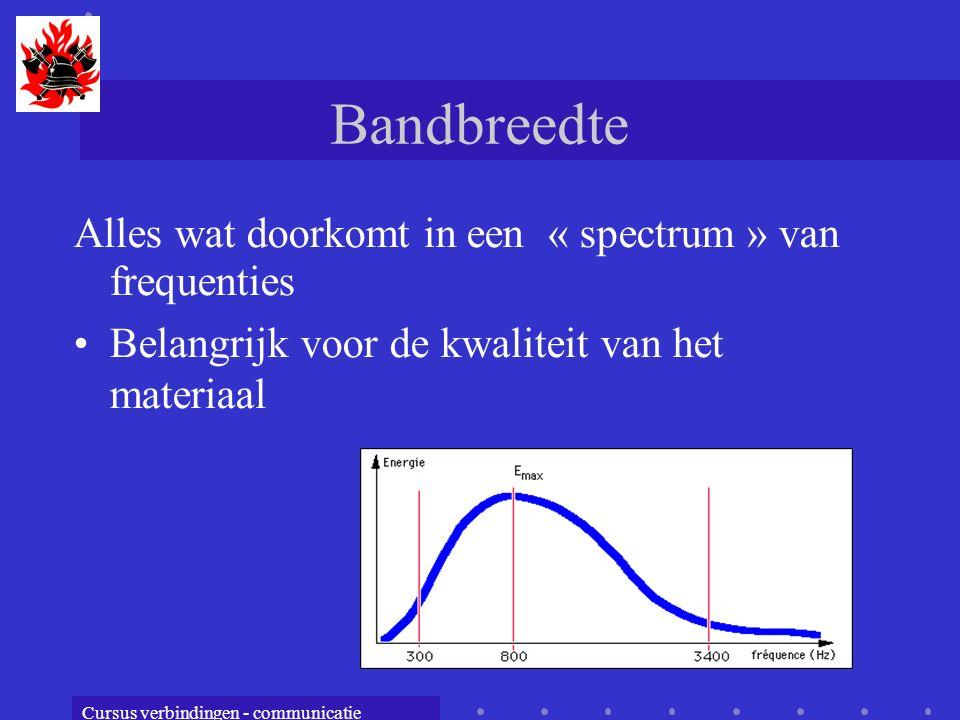 Bandbreedte Alles wat doorkomt in een « spectrum » van frequenties