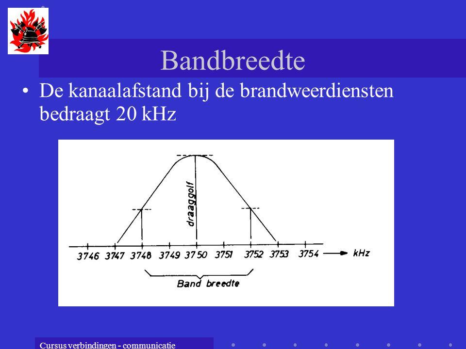 Bandbreedte De kanaalafstand bij de brandweerdiensten bedraagt 20 kHz