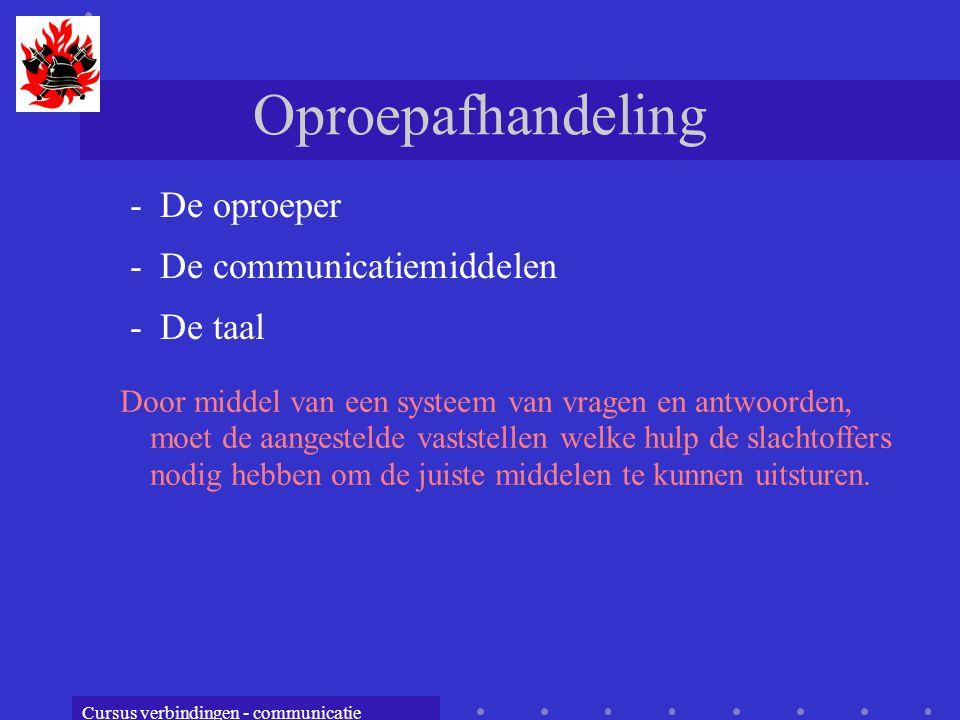 Oproepafhandeling De oproeper De communicatiemiddelen De taal