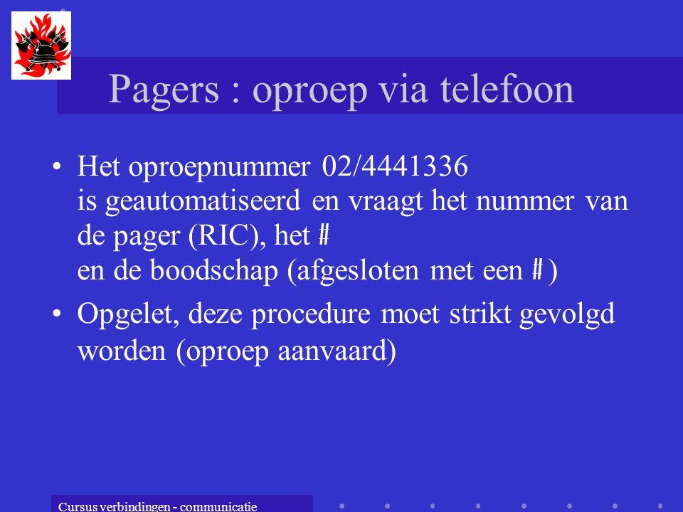 Pagers : oproep via telefoon