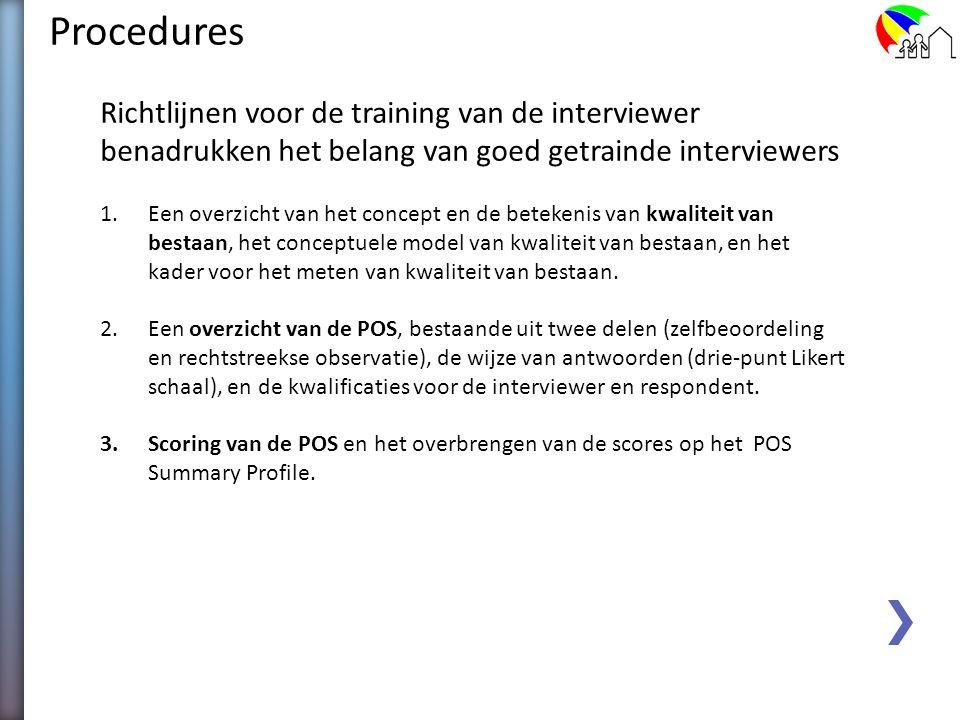 Procedures Richtlijnen voor de training van de interviewer