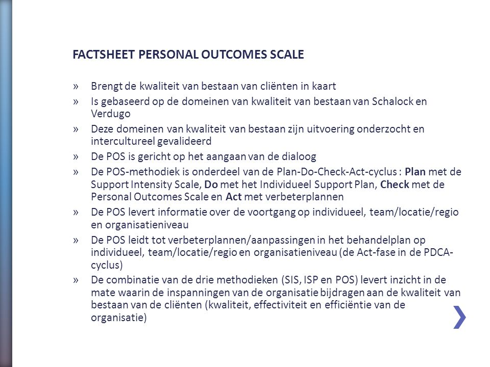 FACTSHEET PERSONAL OUTCOMES SCALE