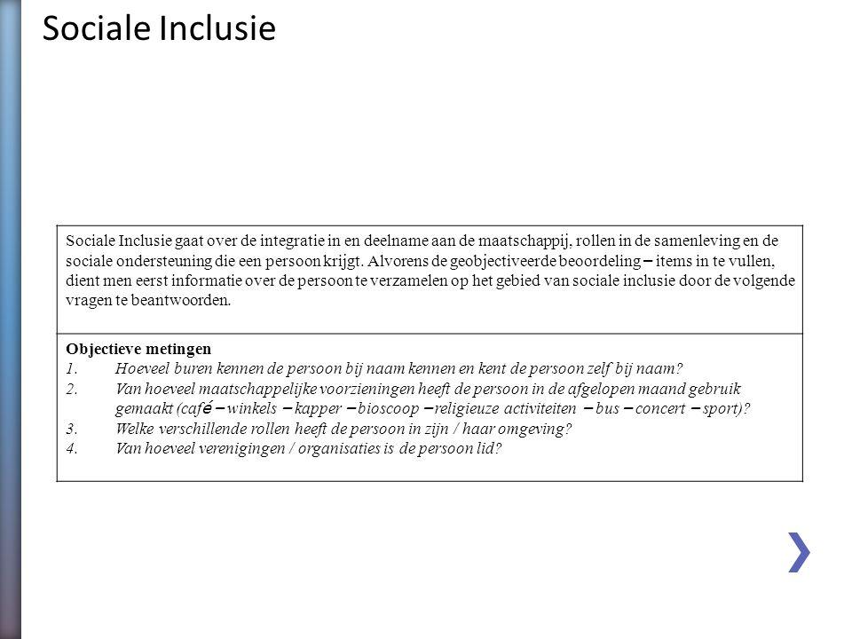 Sociale Inclusie Sociale Inclusie gaat over de integratie in en deelname aan de maatschappij, rollen in de samenleving en de.