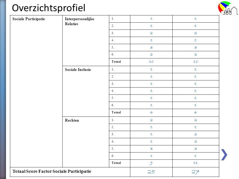 Overzichtsprofiel 25 27 Totaal Score Factor Sociale Participatie