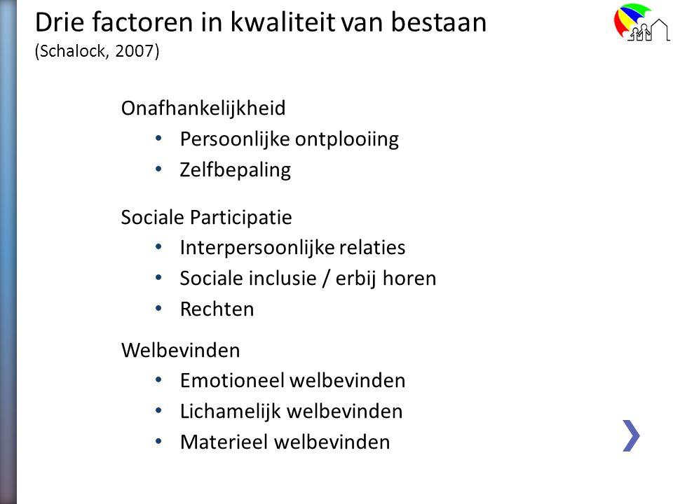 Drie factoren in kwaliteit van bestaan (Schalock, 2007)