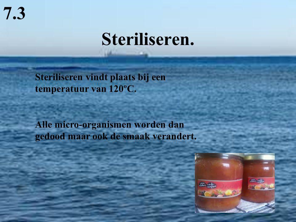 7.3 Steriliseren. Steriliseren vindt plaats bij een temperatuur van 120ºC.
