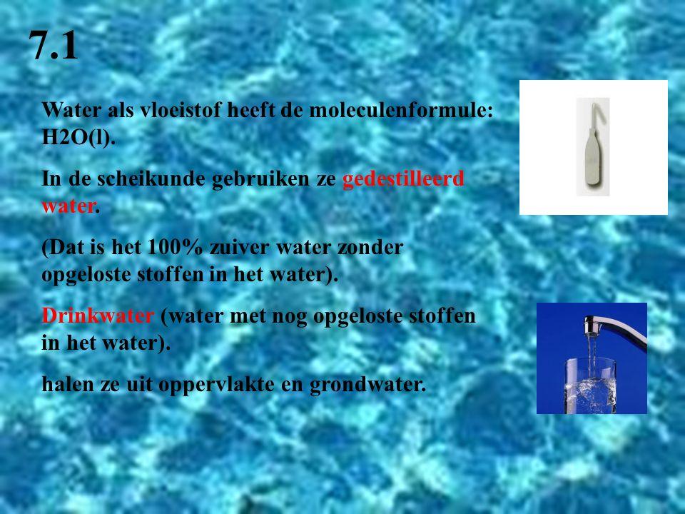 7.1 Water als vloeistof heeft de moleculenformule: H2O(l).