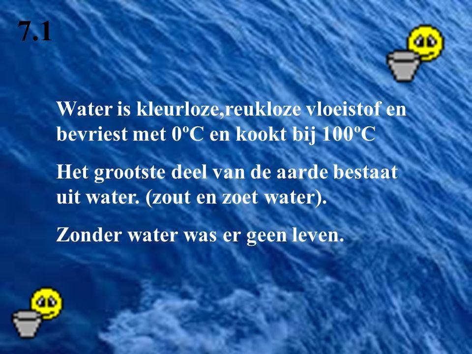 7.1 Water is kleurloze,reukloze vloeistof en bevriest met 0ºC en kookt bij 100ºC.