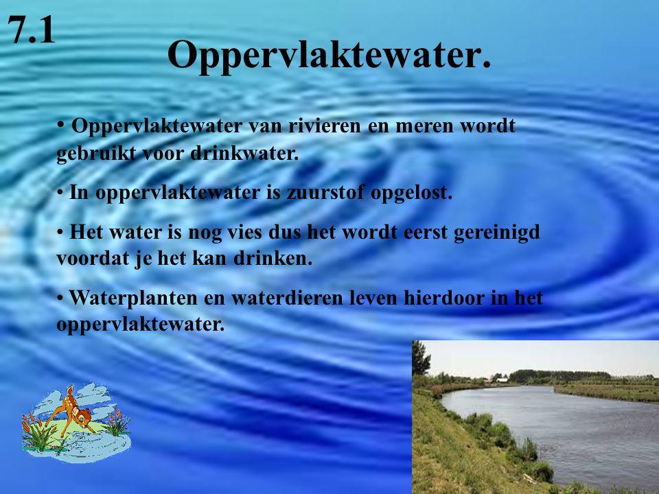 7.1 Oppervlaktewater. Oppervlaktewater van rivieren en meren wordt gebruikt voor drinkwater. In oppervlaktewater is zuurstof opgelost.