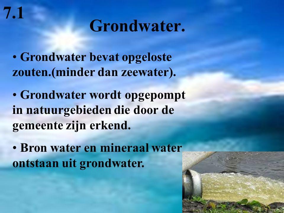 7.1 Grondwater. Grondwater bevat opgeloste zouten.(minder dan zeewater).