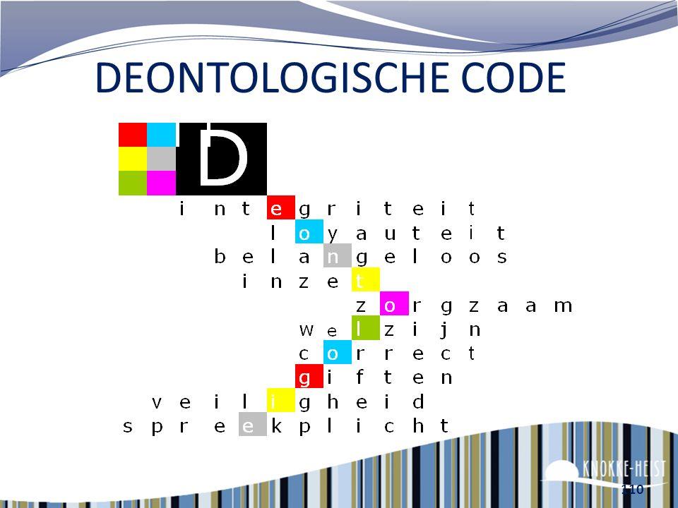 DEONTOLOGISCHE CODE D