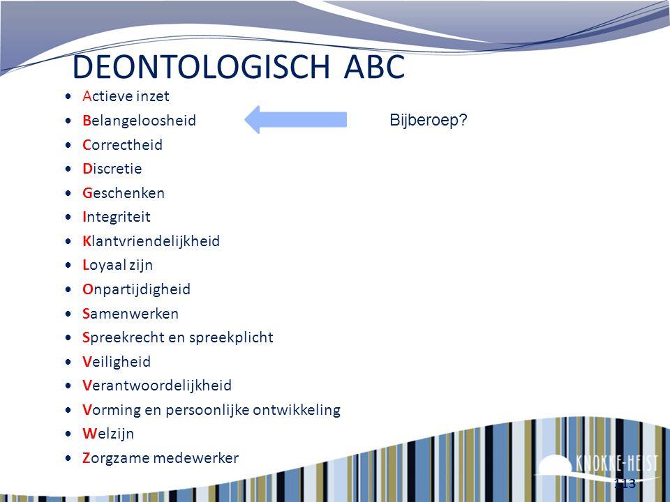 DEONTOLOGISCH ABC Actieve inzet Belangeloosheid Correctheid Bijberoep