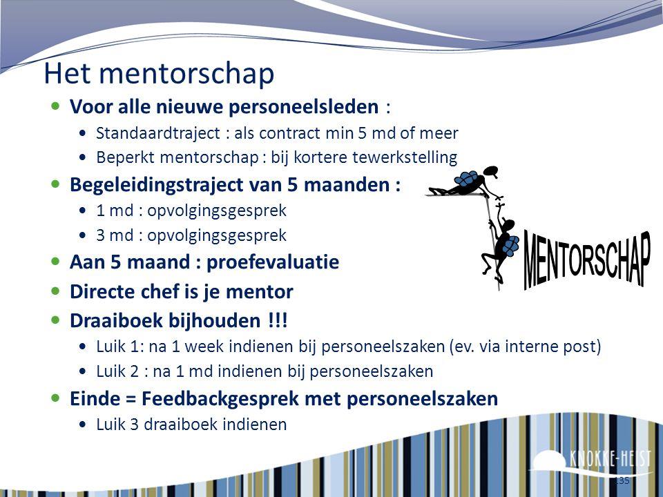 MENTORSCHAP Het mentorschap Voor alle nieuwe personeelsleden :