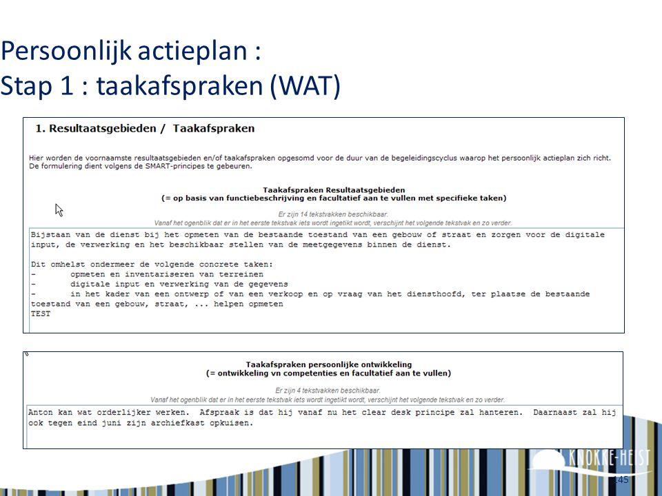 Persoonlijk actieplan : Stap 1 : taakafspraken (WAT)