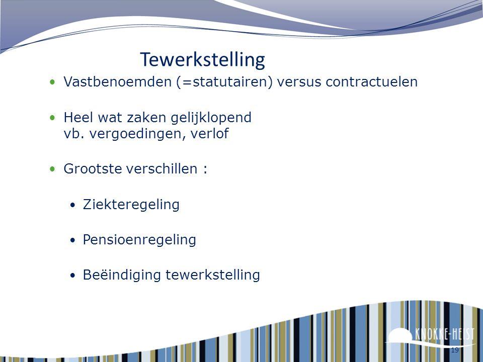 Tewerkstelling Vastbenoemden (=statutairen) versus contractuelen
