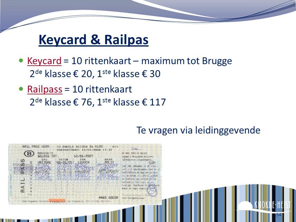 Keycard & Railpas Keycard = 10 rittenkaart – maximum tot Brugge 2de klasse € 20, 1ste klasse € 30.
