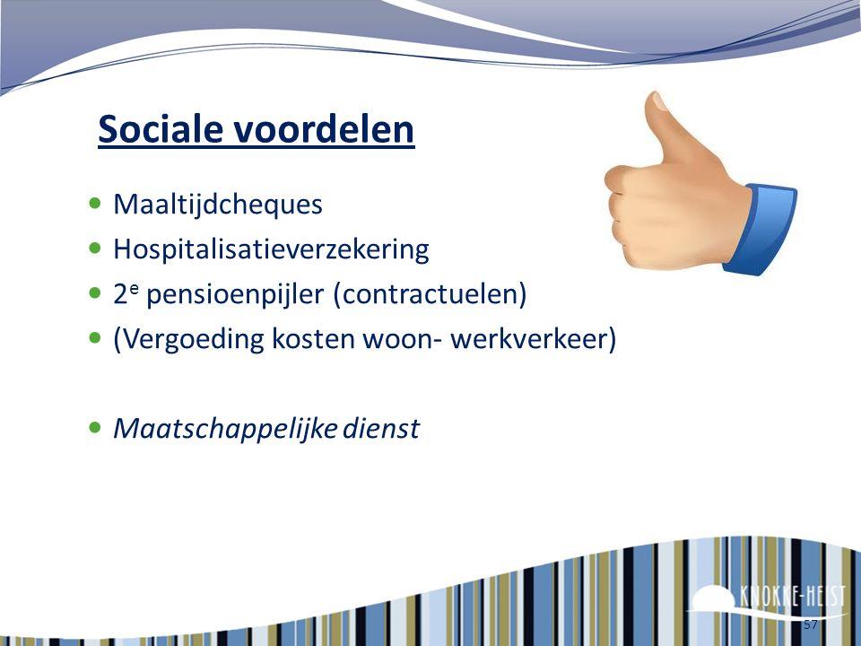 Sociale voordelen Maaltijdcheques Hospitalisatieverzekering