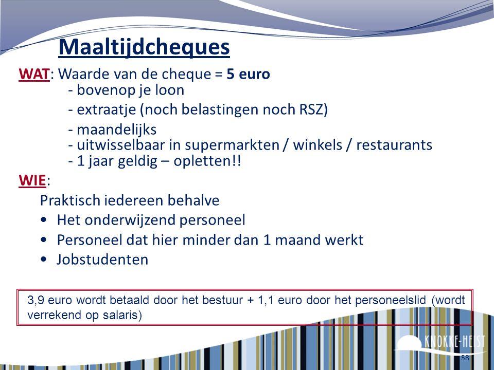 Maaltijdcheques WAT: Waarde van de cheque = 5 euro - bovenop je loon