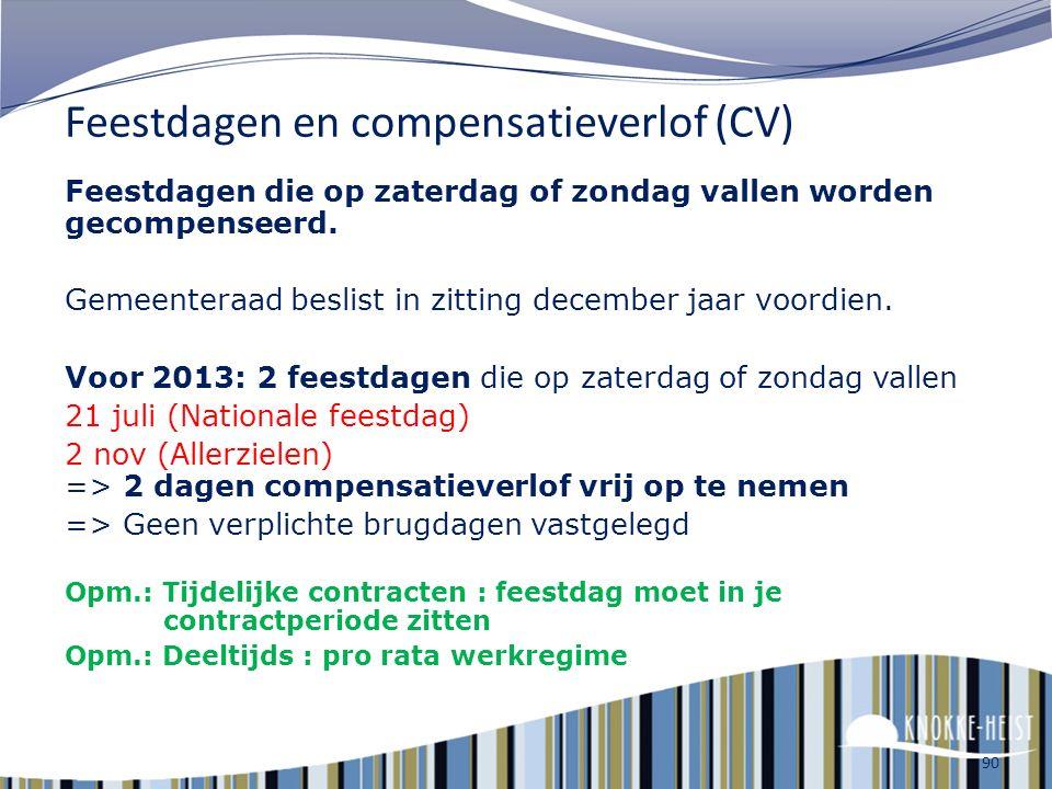 Feestdagen en compensatieverlof (CV)