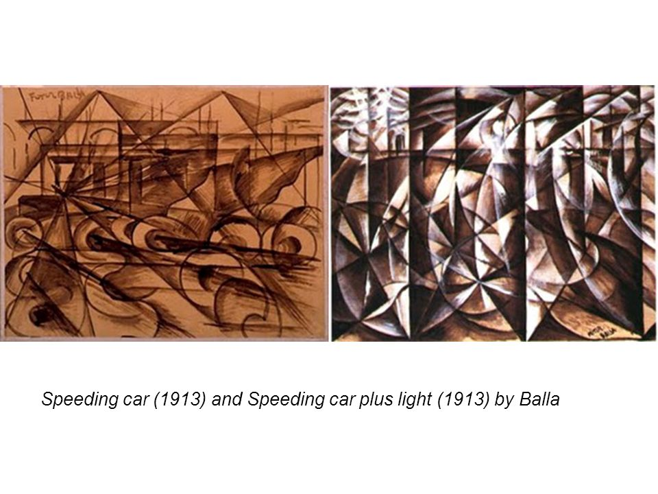 Speeding car (1913) and Speeding car plus light (1913) by Balla