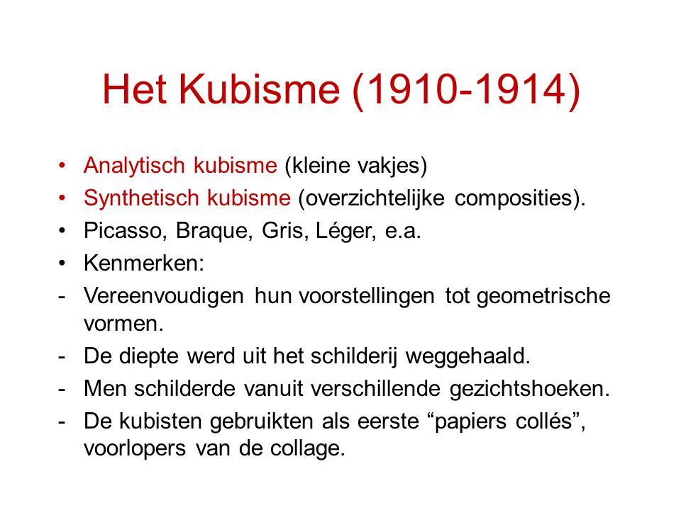 Het Kubisme (1910-1914) Analytisch kubisme (kleine vakjes)