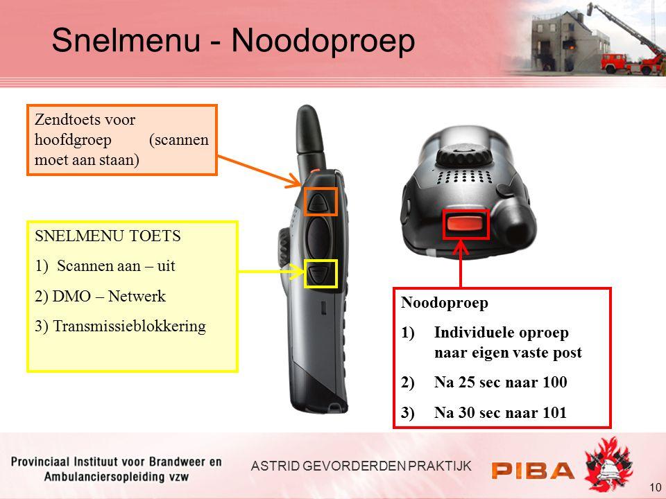 Snelmenu - Noodoproep Zendtoets voor hoofdgroep (scannen moet aan staan) SNELMENU TOETS. 1) Scannen aan – uit.