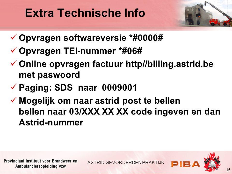 Extra Technische Info Opvragen softwareversie *#0000#