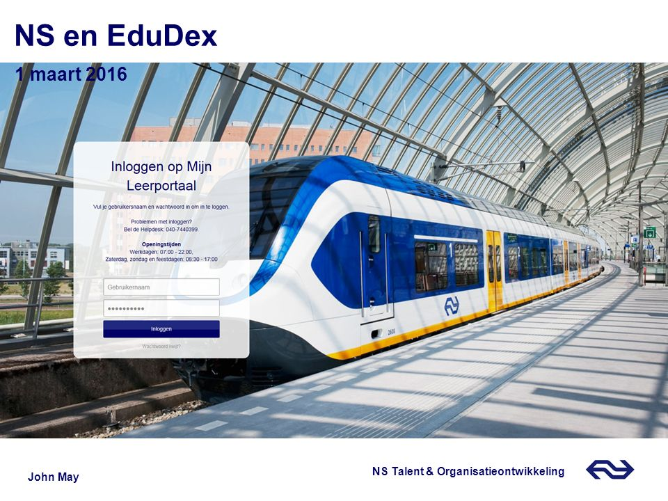 NS en EduDex 1 maart 2016 12 september 2013 John May